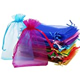 SumDirect 110Pcs 4x6 inches Mixed Color Sheer Drawstring Organza Jewelry Pouches Wedding P...