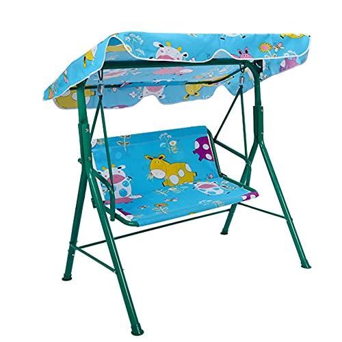 ZHIRCEKE Kinder Hollywoodschaukel 2-Sitzer, Schaukelstuhl für Schaukel im Freien Kinderschaukel Welpenmuster, Schaukelbank mit Sonnendach, Gartenschaukel mit 2 Sicherheitsgurten