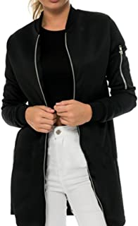 X-Future Womens Outwear Windbreaker Zip-Up Quilted Mid-Long Bomber Jackets Coat