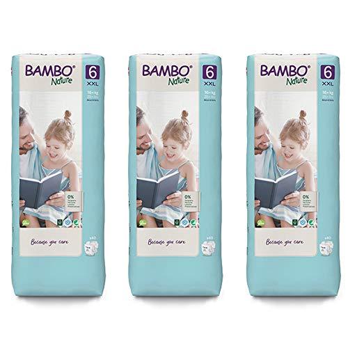 Bambo Nature Pañales ecológicos tamaño 6 (34+ lb/16+ kg) 3 x alto paquete de 40 (ahorro de caja)