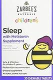 Zarbee's Naturals Children's Sleep Melatonin Supplement Chewable Tablets Grape Flavor - 30 ct, Pack of 2