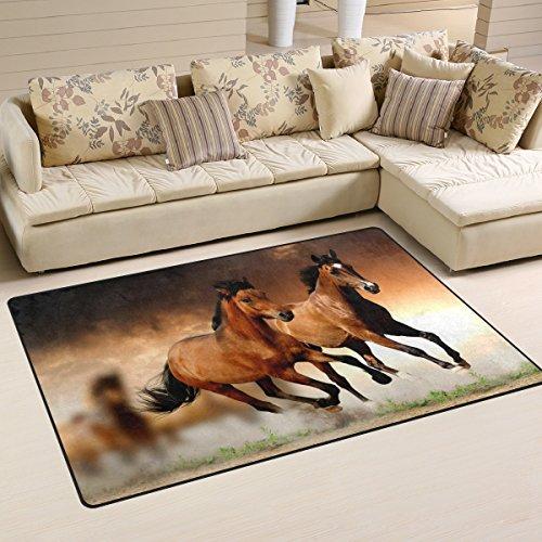 LORVIES Running Horses Area Rug Carpet Non-Slip Floor Mat Doormats for Living Room Bedroom 31 x 20 inches