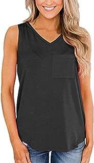 Fitfulvan Women's V Neck Tank Top Sleeveless Blouse Plaim Shirt Summer Tunic Tops Sport Vest