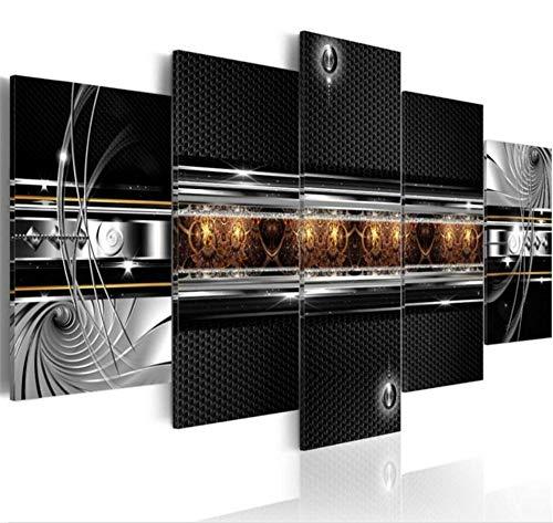 N\A Bilder Leinwand - Bilder Set Wohnzimmer - Mit Rahmen - Bling Abstract Honeycomb Texture