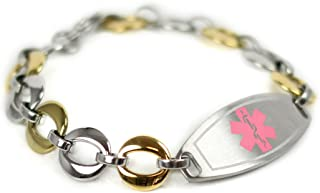 Custom Medical ID Bracelet with Engraving, 1.5cm Gold Tone Steel Links - Made in USA