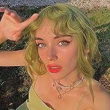 HAIRCUBE Pelucas Bob verdes para mujeres, pelucas cortas y rizadas Pelucas sintéticas con flequillo Cosplay Halloween