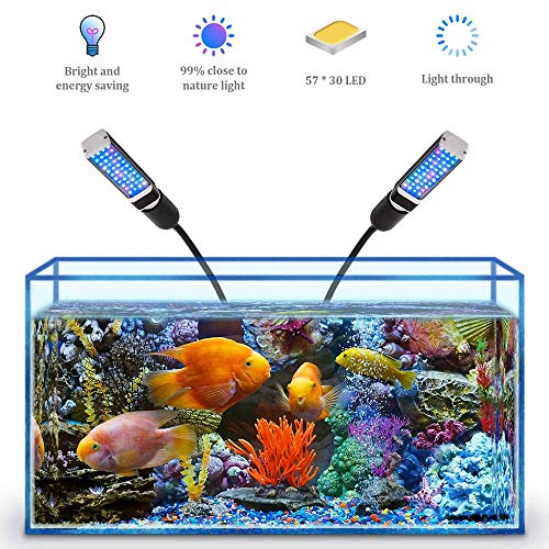 Bozily Aquarium Light for Coral Reef Aquatic Plants Growth Saltwater Freshwater, LED Desktop Fish Tank Light with 4 Dimmable Levels, Replaceable Bulbs and Strong Clamp