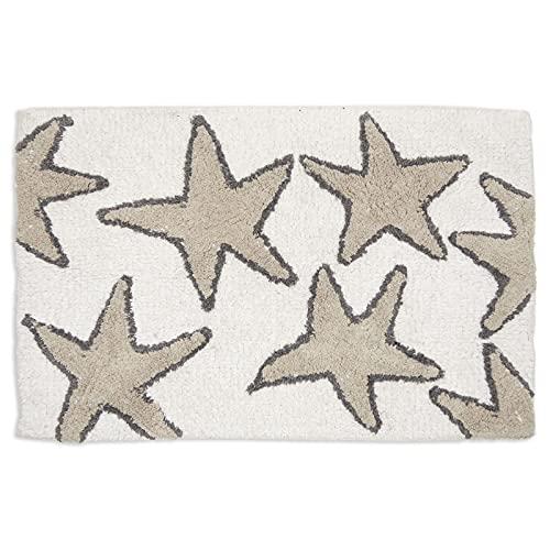 Non-Slip Bath Mat, Starfish Beach Design Bathroom Rug (Cream, 32 x 20 in)