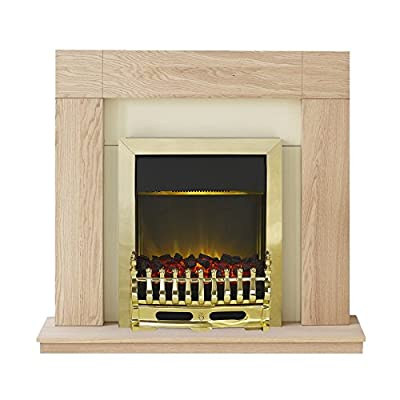 Adam Malmo Fireplace Suite in Oak with Blenheim Electric Fire in Brass, 39 Inch