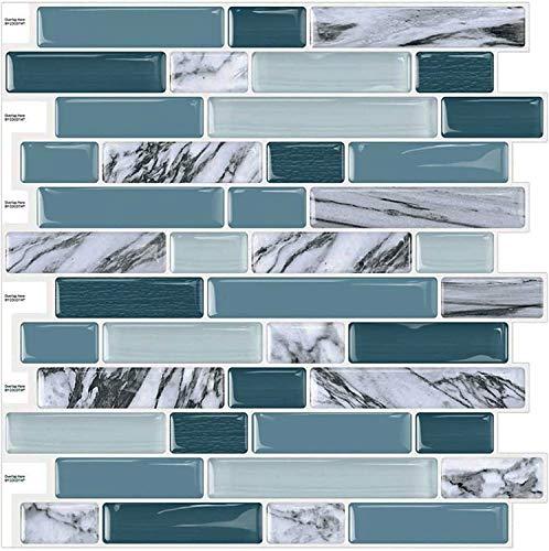 Cocotik 12 x12  3D Gel Tile Self Adhesive Wall Tile Peel and Stick Backsplash for Kitchen and Bathroom, 10 Sheets (Teal Blue)