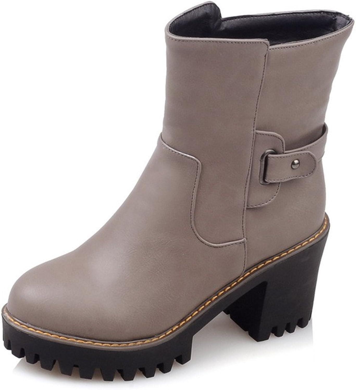 Lucksender Womens Side Zip Round Toe Chunky High Heel Platform Short Boots