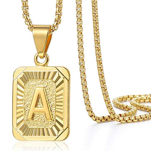Trendsmax Initial Letter Pendant Necklace for Mens Womens Gold Plated Letter A Pendant Necklace Stainless Steel Box Link Chain 22inch