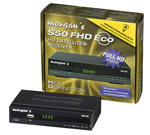 Morgan's S50 FHD Full HD digitaler Satelliten Sat-Receiver mit Aufnahme und Timeshift – (HDTV, DVB-S2, HDMI, SCART, USB 2.0, Full HD 1080p, LAN Anschluss) [vorprogrammiert für Astra] schwarz