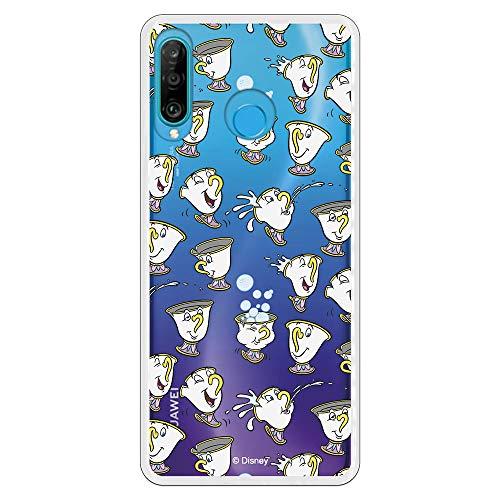 Funda para Huawei P30 Lite Oficial de La Bella y la Bestia Chip Potts Siluetas para Proteger tu móvil. Carcasa para Huawei de Silicona Flexible con Licencia Oficial de Disney.