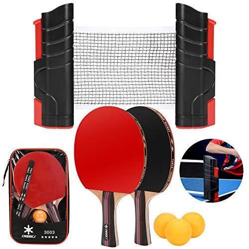 CNSSKJ Tischtennis-Set – inklusive Ping Pong Netz für jeden Tisch, 2 Ping Pong Paddel/Schläger, 3 Ping Pong Bälle, tragbares Tischtennis-Set, Tischtennis-Zubehör für Zuhause und im Freien