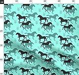 Pferd, Cowgirl, Cowboy, Wild, Pferderennen Stoffe -