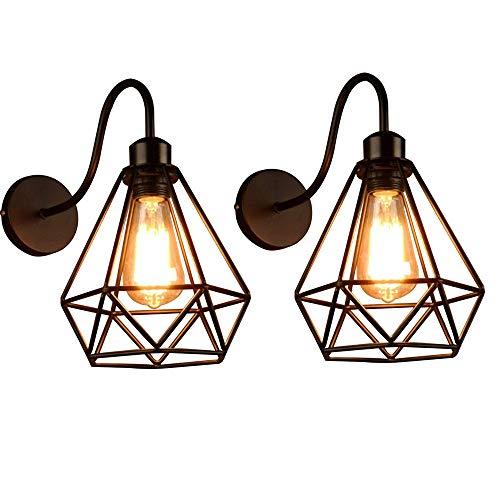 Lámpara de Pared de Hierro Estilo Vintage Retro Edison, Jaula de Metal Negro Industrial E27 Apliques de Pared Accesorio de Luz Para Sala de Estar Decoración de Cocina,2 Pack