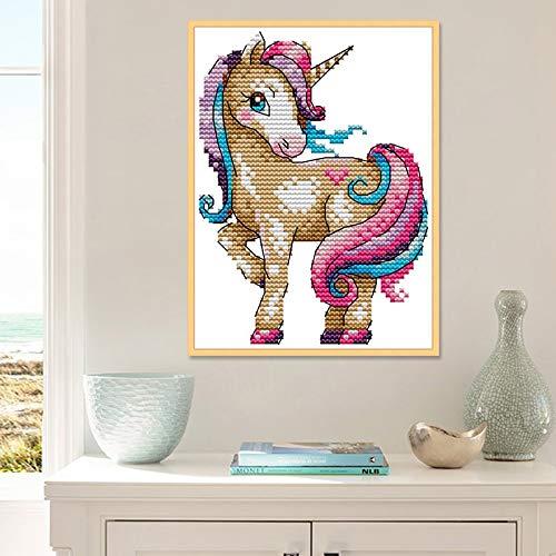 Unicorn Cartoon-Tier-Hauptdekor Gemälde Ungefahren auf Leinwand gedruckt DIY 14CT 11CT Kreuzstich & Sticken Sets Stickerei-Kits (Cross Stitch Fabric CT number : 14CT Unprinted)