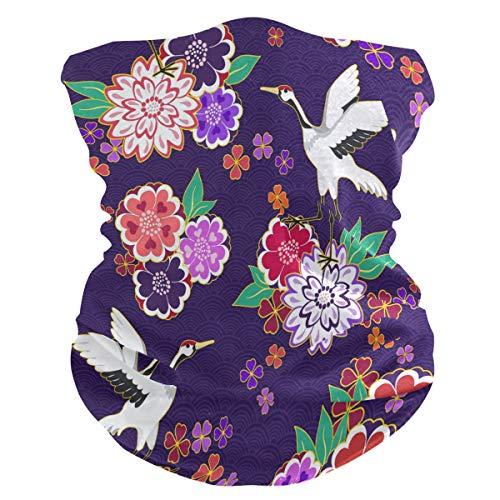 QMIN Serre-tête avec grue d'animal japonais Sakura Bandana Visage Protection solaire Masque Cagoule magique Cagoule pour femme Hommes Garçons Filles