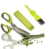 Jumbosky Kitchen Herb Scissors Stainless Steel,Multipurpose Herb Cutting Chopping and Shredding with 5