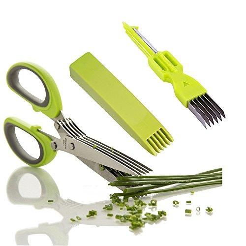 Kräuterschere Küchenschere Edelstahl Scissors Herb mit 5 Klingen,Kräuter Schere Cutter Klinge Multi Scheren mit Reinigung Kamm