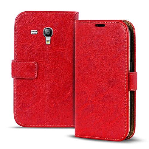 Verco Galaxy S3 Mini Hülle, Premium Handy Schutzhülle für Samsung Galaxy S3 Mini Hülle PU Leder Wallet Tasche Retro Flipcase, Rot