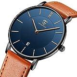 腕時計 メンズ シンプル おしゃれ 超薄型 軽量 アナログ腕時計 ビジネス 防水 オレンジの革バンド 通勤 宴会 平日