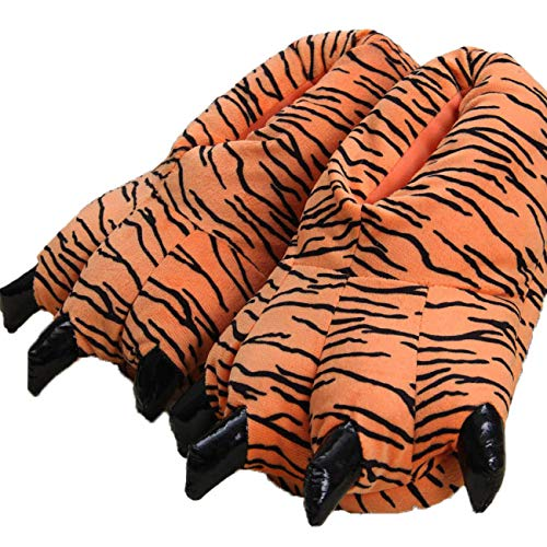 Erwachsene/Kinder Plüsch Animal Paw Claw Schuhe,Unisex lustige grüne Tier Plüsch Dinosaurier Klaue Hausschuhe,35-38,Tiger