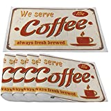 Moslion Fresh Brewed Coffee Placemats,Vintage Style Tin Sign with Lettering We Serve Coffee Place Mats for Dining Table/Kitchen Table,Waterproof Non-Slip Washable Outdoor Dinner Table Mats,Set of 4
