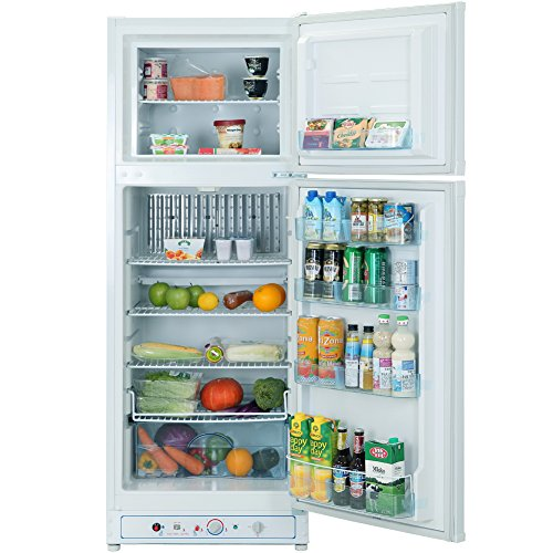 Smad Gas Refrigerator Freezer 110V/Propane Fridge Up Freezer, 9.3 Cu.Ft, White