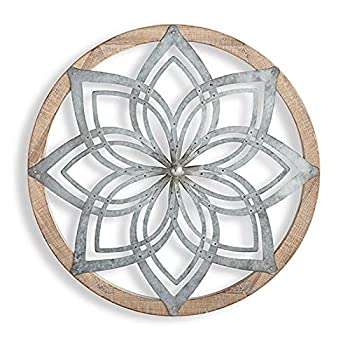 Wooden Round Wall Art Metal Flower Carved Hanging Ornament Handmade Intricate Craft Wall Medallions Creative Clock Shaped Pendant Decor for Home Cafe Vintage Shop Yoga Studio,A