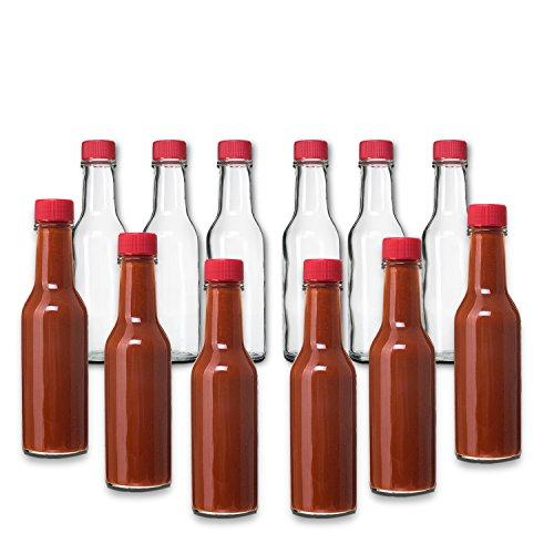 Premium Vials Botellas con tapas rojas y tapas de goteo para salsa, pimienta, vinagre, salsa picante, salsa de pimienta Paquete de 12