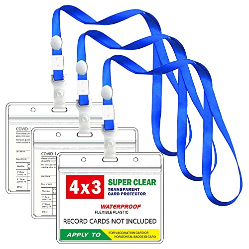 CDC Vaccination Card Protector 4.3 X 3.4 in Immunization Record Vaccine Cards Holder Horizontal Badge Tags Clear Vinyl Plastic Sleeve with Waterproof Type Resealable Zip (3)