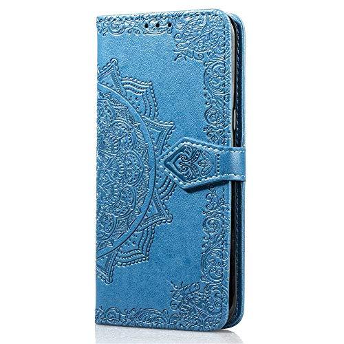 Bravoday Coque pour Samsung Galaxy S9, Protection Étui Housse PU Cuir Portefeuille Bookstyle pour Galaxy S9, avec Carte Slot et Stand Support, Bleu