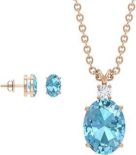 2.48 CT Aquamarine Earring and Necklace Sets, Oval Blue Gemstone Jewelry, Solitaire Aquamarine Stud Earring, Birthstone Ne...