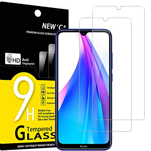 NEW'C 2 Unidades, Protector de Pantalla para Xiaomi Redmi Note 8T, Antiarañazos, Antihuellas, Sin Burbujas, Dureza 9H, 0.33 mm Ultra Transparente, Vidrio Templado Ultra Resistente