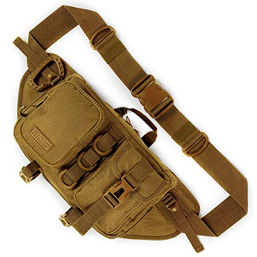 Fitdom Tactical Sling Bag for Men. Made from Heavy Duty Nylon & Built Tough for Outdoor. Also Use As Backpack, Fanny Waist Pack, Crossbody, Shoulder or Chest Bag for Travel Cycling (Dessert Tan)
