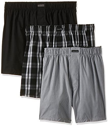 Calvin Klein Boxer Wvn 3Pk Mutande, Nero (Blk/Morgan Plaid/Montague Stripe BMS), XL (Pacco da 3) Uomo