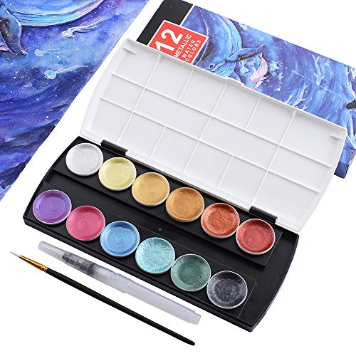 Metallic Watercolor Paint Set, Set of 12 Assorted Vibrant Colors with 1 Detail Paint Brush and 1 Water Brush Pens for Artists, Art Painting, Ideal for Watercolor Techniques
