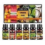 LorFain Fruity Fragrance Oil Gift Set for Soap, DIY Candle, Bath Bombs Making, Premium Grade Scented Oils - Summer Fruit (6x10ml/0.34fl.oz)