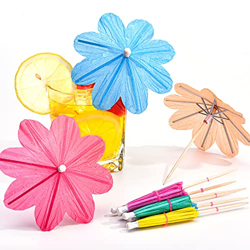 140 Pieces Flowers Umbrellas Cocktail Umbrella Picks Drink Parasol Paper Cupcake Toppers Handmade Cocktail Parasol Sticks for Summer Decorations Party Favours Party Supplies, Random 5-6 Colors
