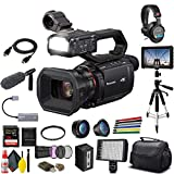 Panasonic AG-CX10 4K Camcorder + Padded Case, Sandisk Extreme Pro 128 GB Memory Card, Tripod, Lens Filters, Sony Headphones, Sony Mic, External 4K Monitor, Wire Straps, LED Light, and More
