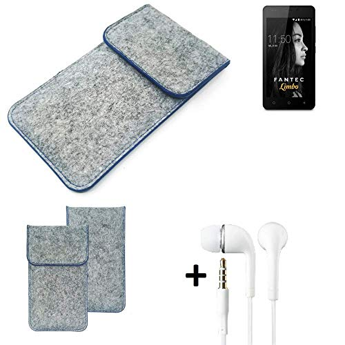 K-S-Trade Filz Schutz Hülle Für FANTEC Limbo Schutzhülle Filztasche Pouch Tasche Handyhülle Filzhülle Hellgrau, Blauer Rand + Kopfhörer
