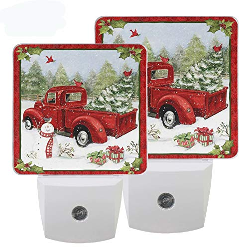 Pfrewn Christmas Snowman Red Truck Night Light Set of 2 Xmas Tree Holly Leaf Plug-in LED Nightlights Auto Dusk-to-Dawn Sensor Lamp for Bedroom Bathroom Kitchen Hallway Stairs Decorative