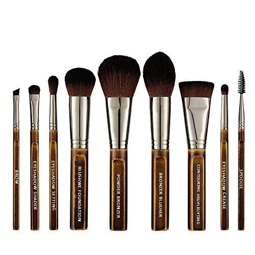 Lot de 9 pinceaux professionnels Kabuki en bois pour fond de teint, poudre, yeux, noir doré, avec sac en cuir