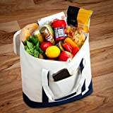Insulated Grocery Bag with Zip Top - Heavy Duty - Thermal Bag for Cold and Hot Food - Large Reusable Cooler for Fresh Produce - Eco Friendly - by Smart Mom Labs (Ivory)