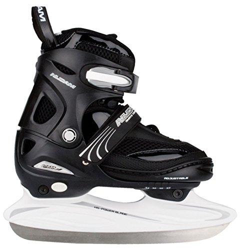 Nijdam Kinder Eishockeyschlittschuhe Icehockey Skate, Schwarz/Silber/Weiß, 38-41, 1015696