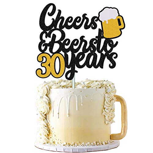 30s Birthday Cake Topper Cheers to 30 Years Decor for Men Women Him Her Happy 30th Birthday Wedding Anniversary Party Supplies Black Glitter Decorations Double Sided