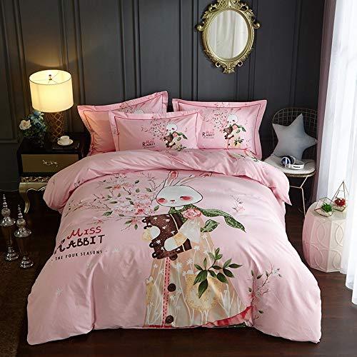 YIEBAI Textiles para el hogar cottongrinding Cartoon Cute Pink Miss Rabbit Juego de Cuatro Piezas Traje para niños Juego de Cama Juego de Cama,Fitted Bed Sheet,Queen Size 4pcs