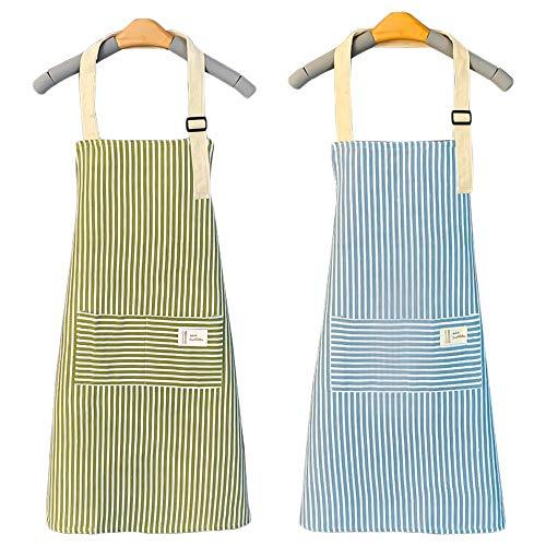 qipuneky, 2 Pezzi, Grembiule, Grembiule in Cotone E Lino, Grembiule da Cucina, Grembiule per La Pulizia, Regolabile, Adatto per Casa E Cucina (Verde + Blu)